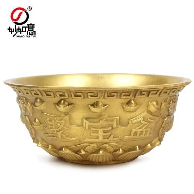 铜实心聚宝盆摆件碗金铜盆聚宝碗元宝盆铜钱盆碗开业礼品